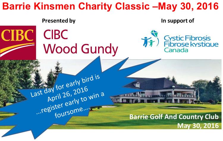Barrie Kinsmen Golf Tournament header